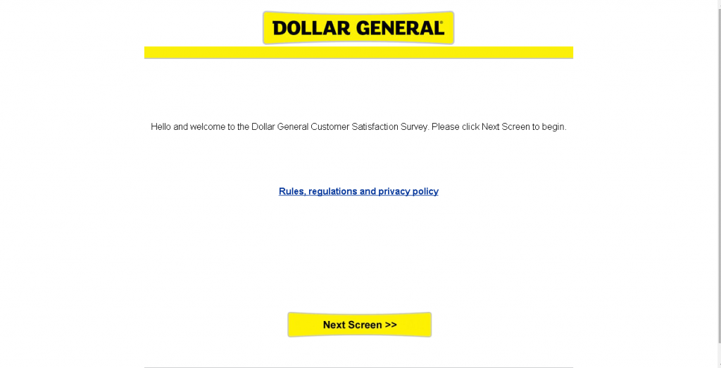 dollar general survey screenshot of main page