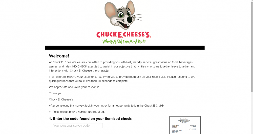 chuck e cheese client survey page screenshot