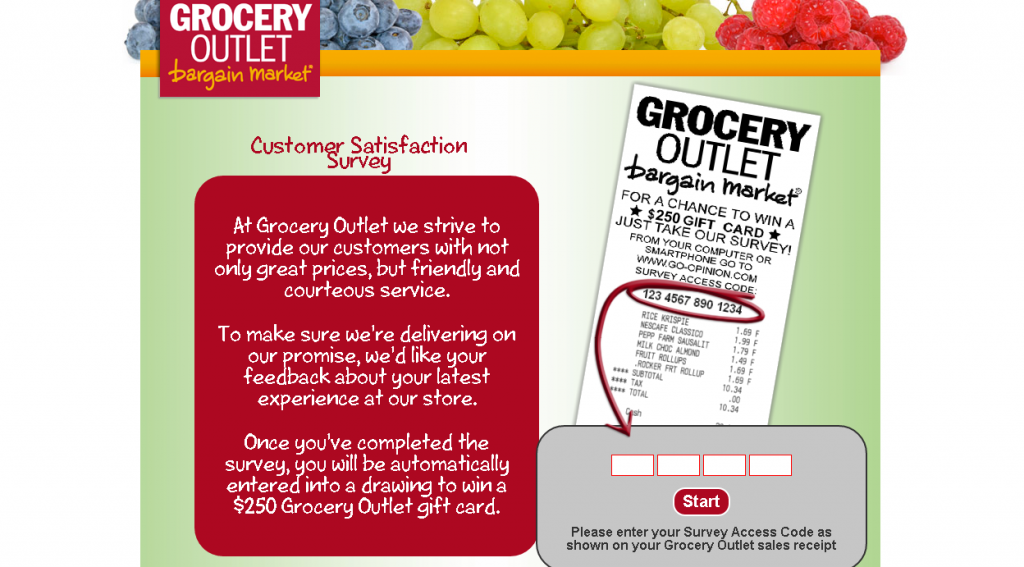 screenshot of grocery outlet customer survey first page