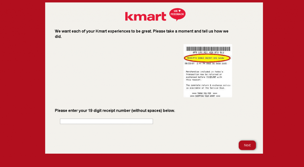 kmart client feedback survey screenshot
