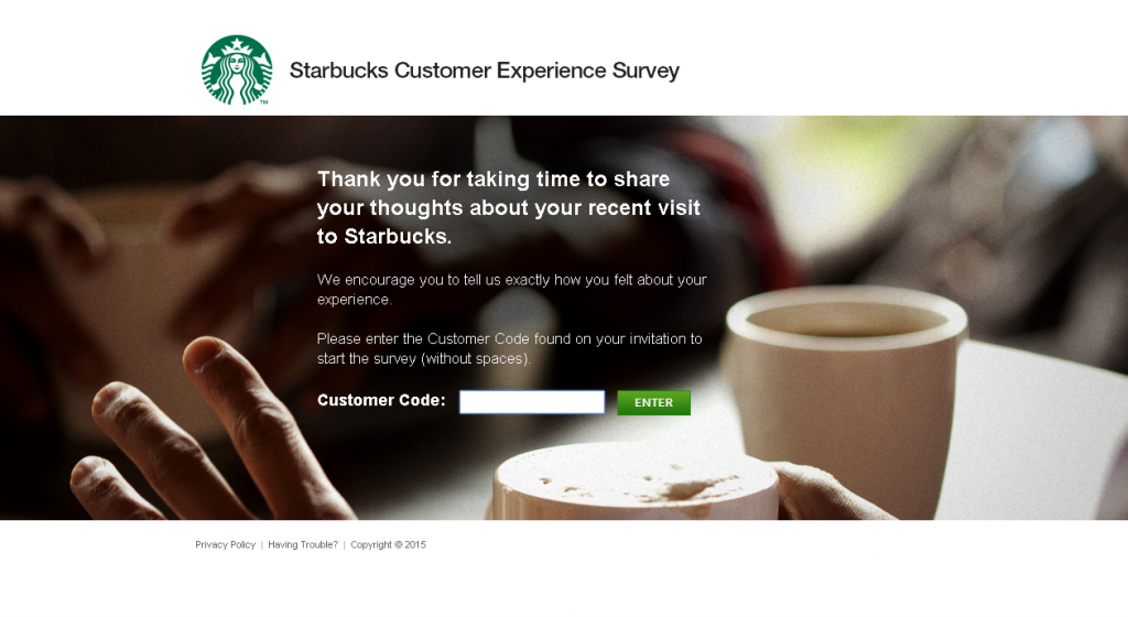 mystarbucksvisit client satisfaction survey screenshot