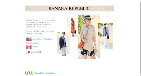 banana republic facebook link banana republic twitter link banana republic pinterest link banana republic instagram link banana republic snapchat link. CUSTOMER SUPPORT. Customer service. Shipping and handling. Returns. Gift cards. Fit Guide. Size charts. Site map. Refer a friend. BANANA REPUBLIC CREDIT CARD.
