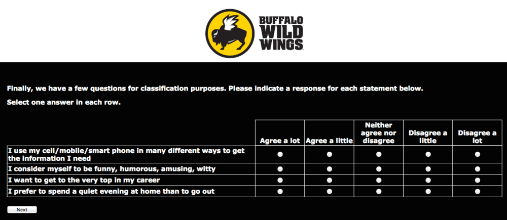 buffalo wild wings survey step screenshot