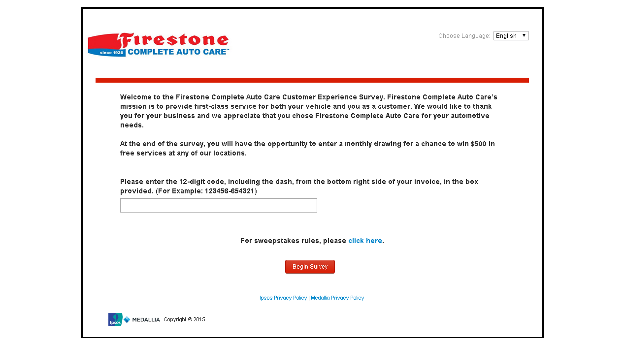 firestone survey page screenshot