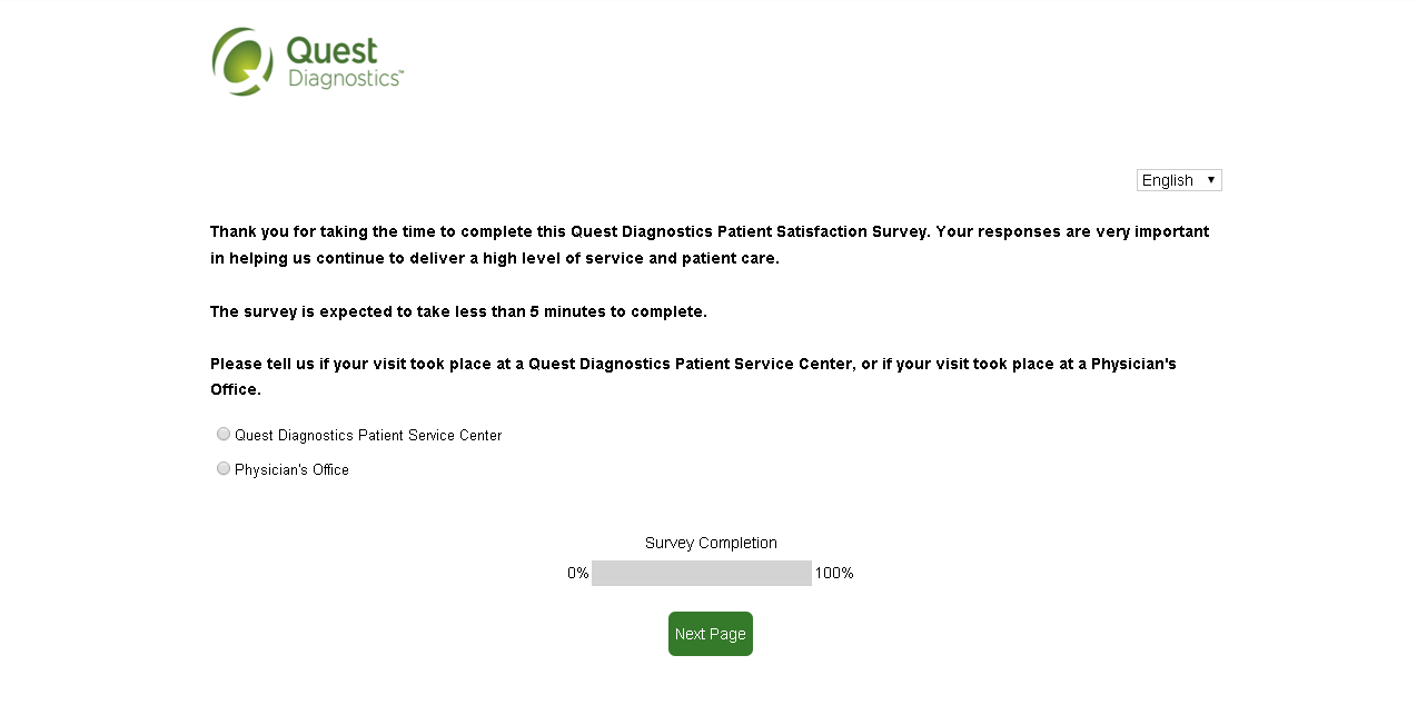 questdiagnosticsfeedback.com first page