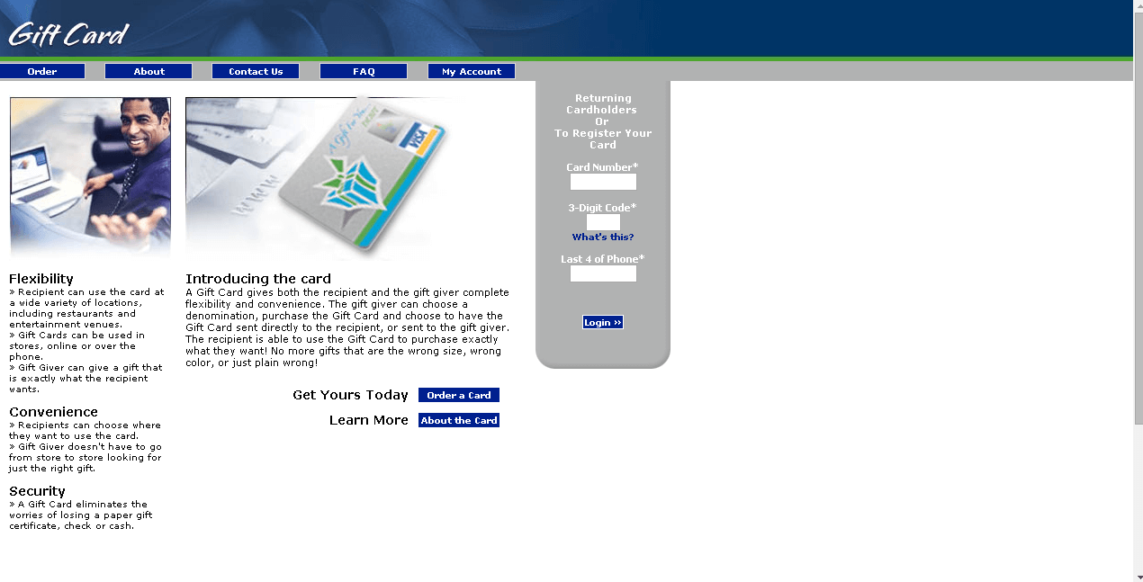 harland clarke gift card ordering page returning customer screenshot