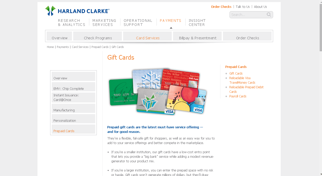 how to order a harland clarke gift card screenshot