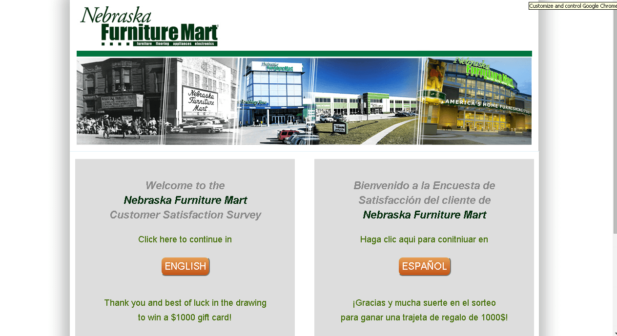 Nebraska Furniture Mart Customer Service Survey Screenshot