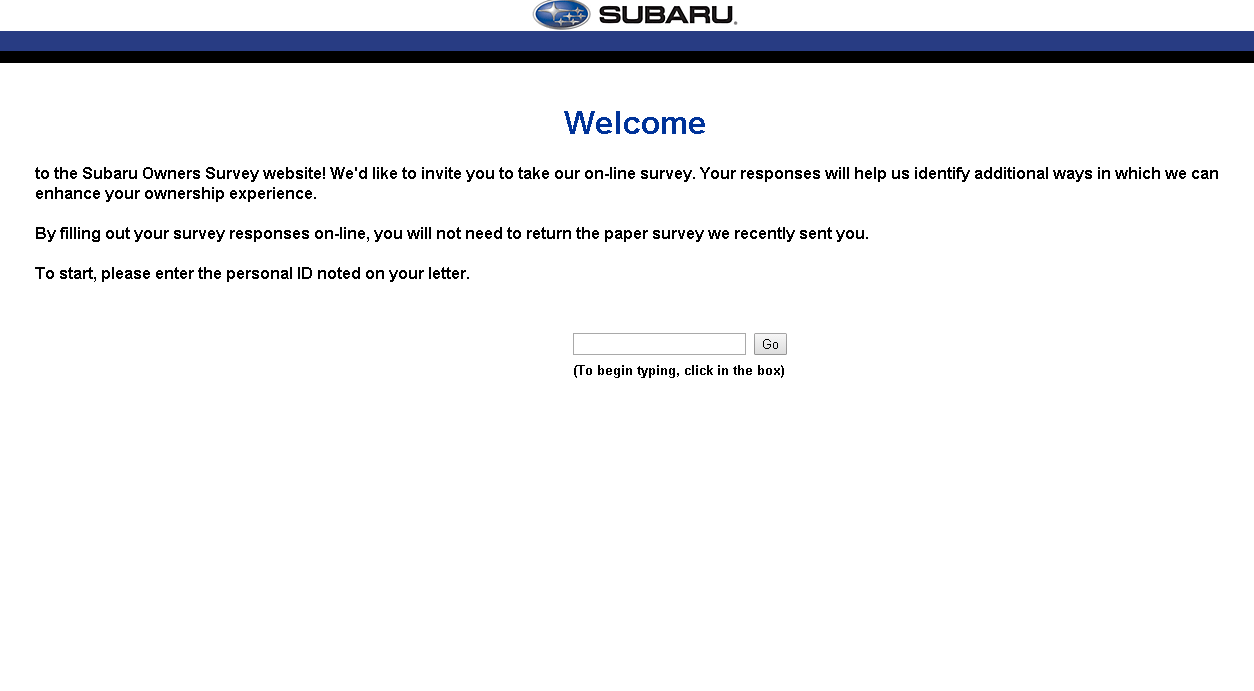 subaru owners feedback survey page screenshot