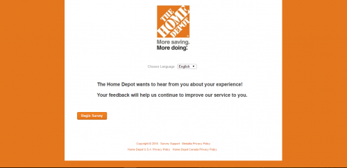 Home Depot survey first page