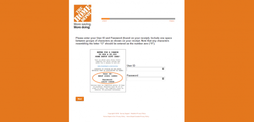 home depot survey second page