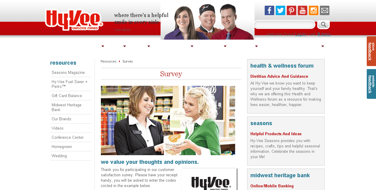 hy vee survey page screenshot
