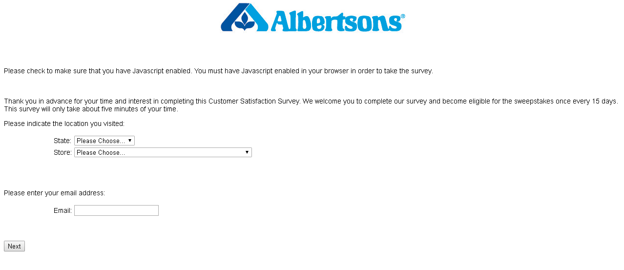 albertsons survey site screenshot