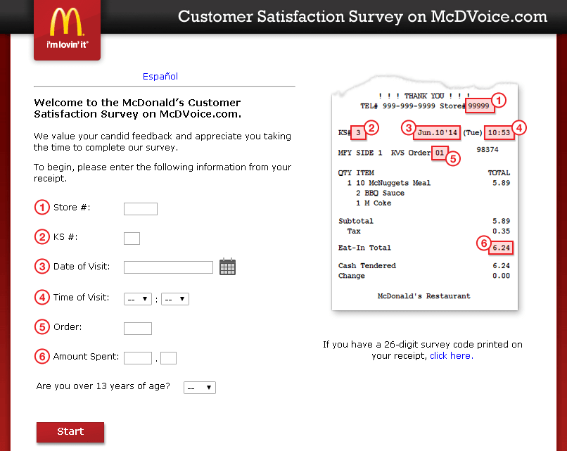 mcdonalds mcdvoice customer survey website screenshot