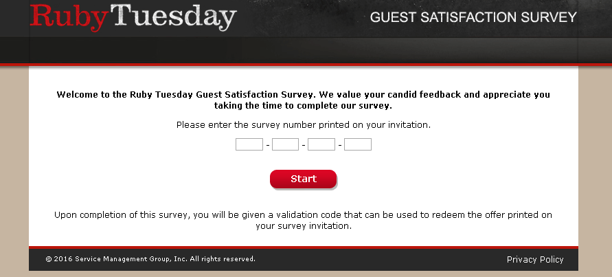 ruby tuesday survey site screenshot