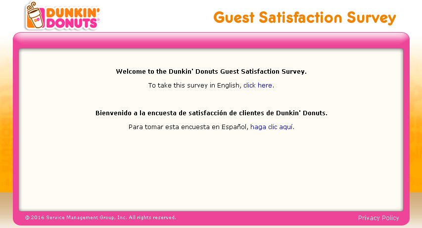 telldunkin dunkin donuts survey website screenshot