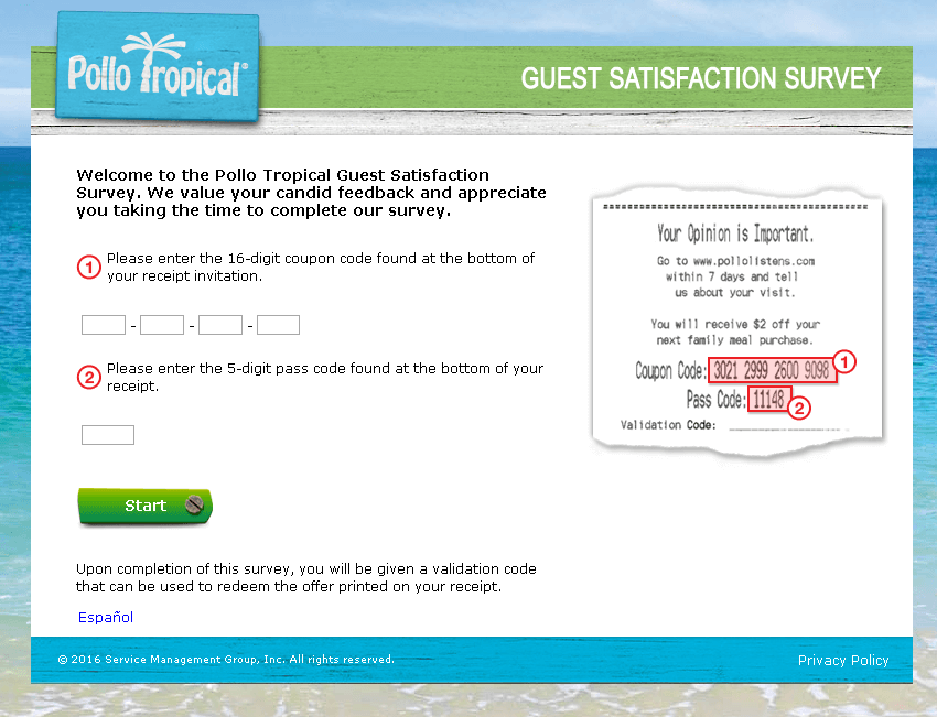 pollo tropical survey website screenshot