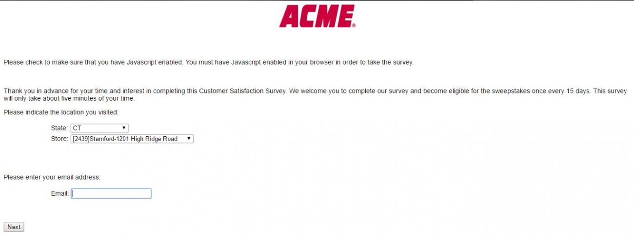 Acme Markets Survey First Page