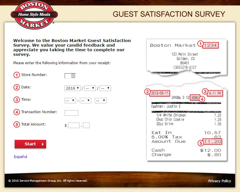 How to Complete the Boston Market Survey