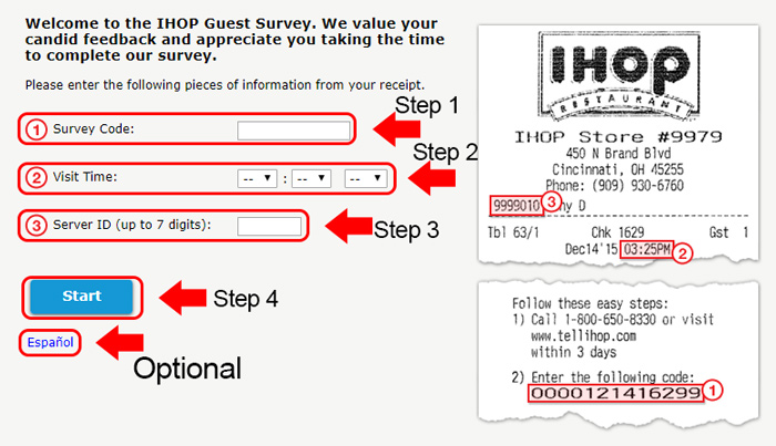 ihop survey receipt code