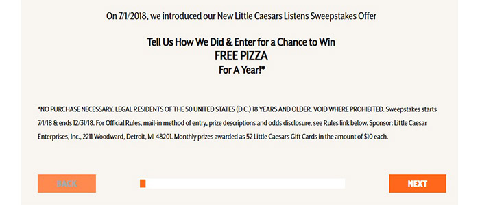 Little Caesars Listens Survey Guide Button page
